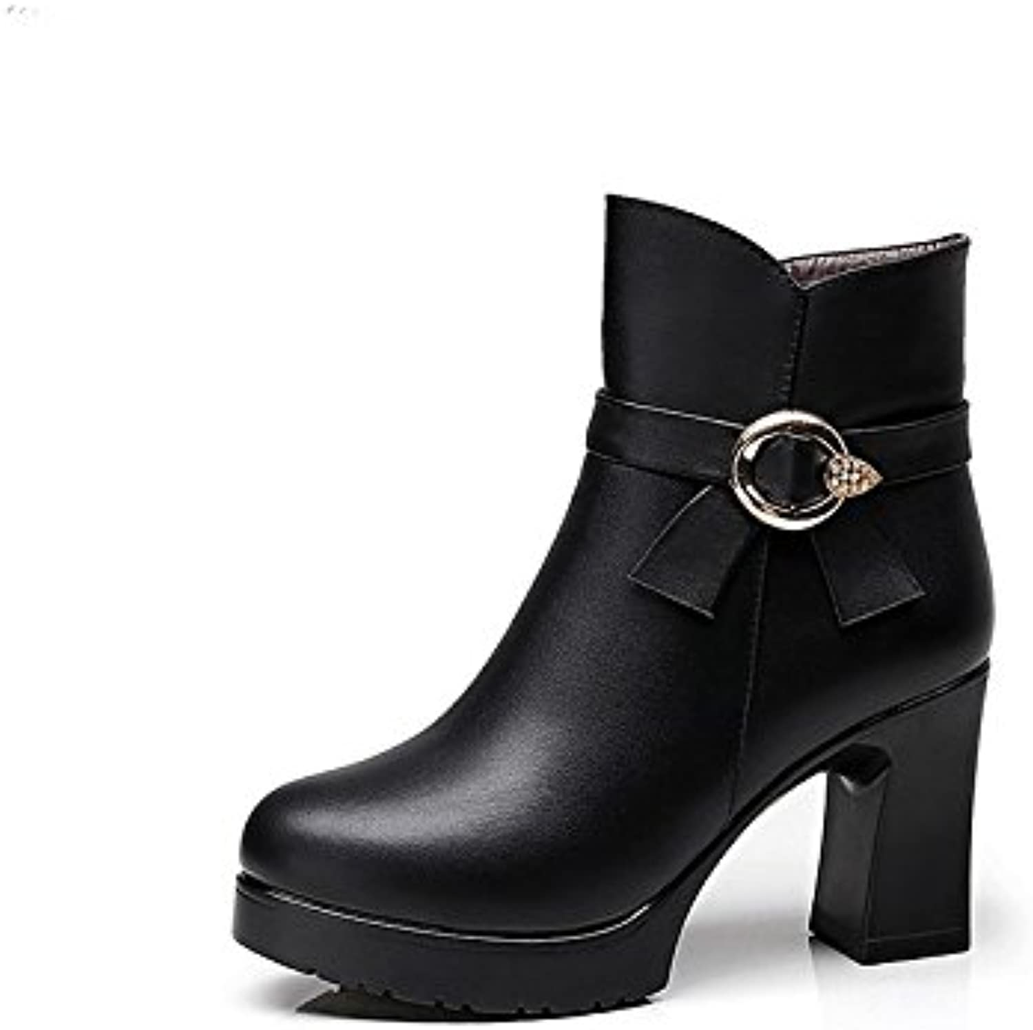HSXZ Women's shoes Synthetic Microfiber PU Winter Fall Bootie Boots Chunky Heel Round Toe Booties Ankle Boots Sparkling Glitter for Dress