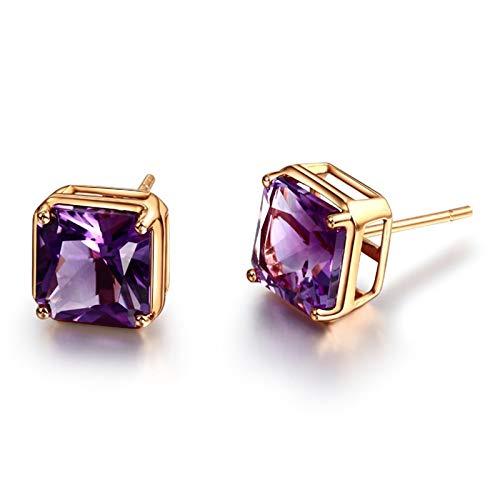 Beydodo Pendiente de Mujer Oro Rosa Púrpura,Pendientes Oro Rosa 18k Cuadrado Amatista Púrpura 4.25ct