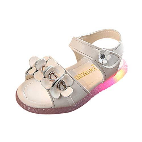 HDUFGJ Kinder Baby LED Leuchtende Sandalen Prinzessin Schuhe Outdoor Strandschuhe Atmungsaktiv Gummi Sommer Freizeitschuhe Outdoor Wandern Wasserschuhe 22.5(Weiß)