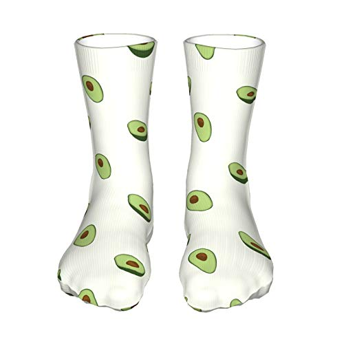 QUEMIN Child christmas present Avocado Fruit SummerUnisex Stockings, Christmas Sports Thick Black High Heel Socks (40cm / 15.7in)