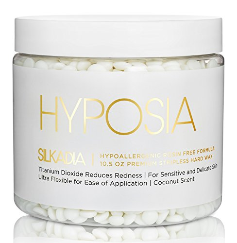 Luxury Hypoallergenic Hard Wax Beads - for Sensitive Skin. Coconut Wax Beans for Hair Removal with Soothing Creamy Rosin Free Premium Ingredients - Australian Manufactured by Hyposia (10.5 oz, 1 Pack)