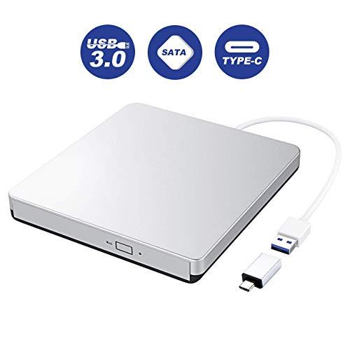 VicTsing USB 3.0 Externer CD-/DVD-Brenner, Typ C-Schnittstelle; schnelle Übertragung und tragbares Design, CD-ROM/DVD-RM, kompatibel mit Windows und Mac OS, silber