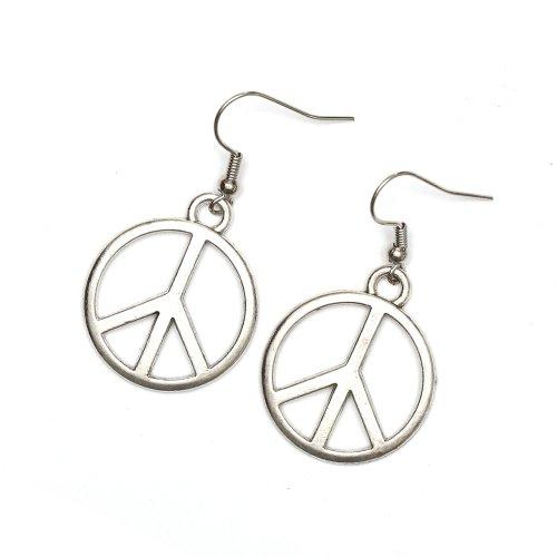 Idin Jewellery - Pendientes de gota con signo de paz en tono plateado.
