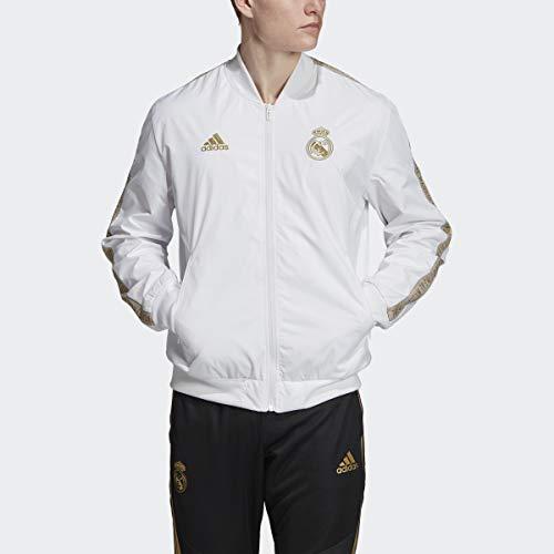 adidas Men's Real Madrid Anthem Jacket (White/Gold) (L)