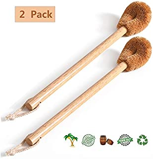 dirk Toilet Brush, Natural Coconut Fibre Brush Head and Rubber Wood Handle, Great for Bathroom (2 Pack)