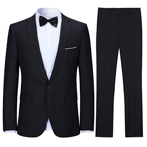 Allthemen Anzug Herren Anzug Slim Fit Herrenanzug Anzüge Anzug Hochzeit Business Schwarz Medium