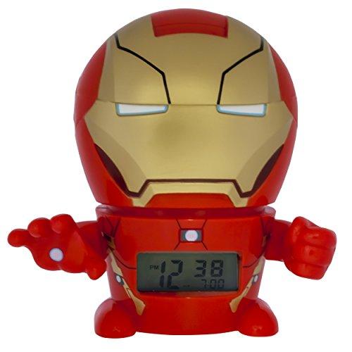 BulbBotz Marvel 2021432 Iron Man Kinder-Wecker mit Nachtlicht und typischem Geräusch , rot/gold, Kunststoff , 14 cm hoch , LCD-Display , Junge/ Mädchen , offiziell