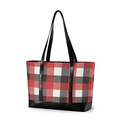 Buffalo Lattice Plaid Laptop Bag for Women Canvas Messenger Bag Business Office School Computer Bag for 15.6 Inch Laptop & Tablet Professional Large Capacity Briefcase Handbag Shoulder Bag