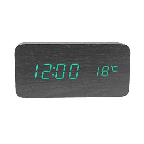 BXT Réveil Matin Alarme Clock Digital Réveil-matin pour Enfant Garçon Fille Bois Avec Voix Contrôle et Affichage LED Sonore Pour Bureau Maison Chambre Température/Humidité/Calendrier par USB/Batterie