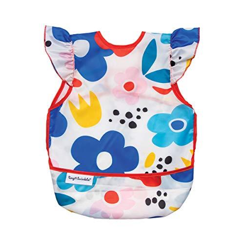 Babero de delantal a prueba de desorden, diseño floral moderno, impermeable y lavable a máquina, babero con bolsillo abatible