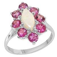 英国製(イギリス製) K14 ホワイトゴールド 天然 オパール 天然 ピンクトルマリン レディースー クラスター リング 指輪 各種 サイズ あり