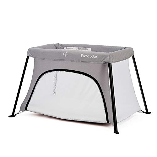Lightweight Foldable Travel Crib Portable Play Yard with Carry Bag for Infant Toddler NewbornLight Grey