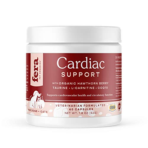 FERA Cardiac Support Supplement for Dogs Cats, Taurine, L-Carnitine, CoQ10, Organic Hawthorn Berry, Vitamin E, Promotes Cardiovascular Heart Health, Healthy Circulation, 60 Cardio Capsules