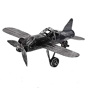Vintage Airplane Model Wrought Iron Aircraft Biplane for Photo Props Christmas Home Decor Ornament Black