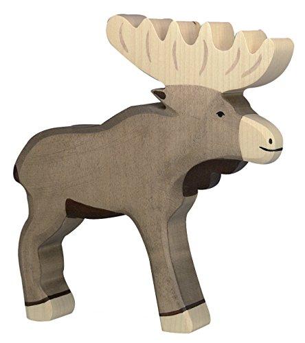 cama24com Elch Holzfigur Holzspielzeug von Holztiger mit Palandi® Sticker