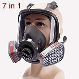 GNZY Respirador de rostro completo, protección respiratoria, filtros de carbono antivaho reemplazables, cartucho de filtro de material de silicona suave, set de 7 piezas (equipado con caja 3)