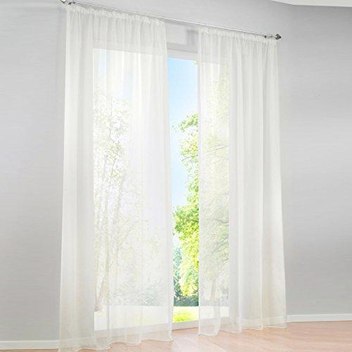 HongYa 1er-Pack Uni Gardine Transparenter Voile Schal Vorhang mit Kräuselband H/B 245/145 cm Creme