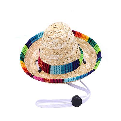 LUOEM Mascota Sombrero Sombrero Divertido Perro Mexicano Traje Sombrero Fiesta Mexicana Fiesta Cosplay Sombreros para Perros Gato (Tamaño Grande, Ajuste elástico)