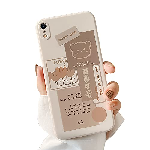 Ownest Compatible with iPhone XR Case with Cute Bear 3D Cartoon Pattern for Women Girls Soft Silicone Protective for iPhone XR-Bear