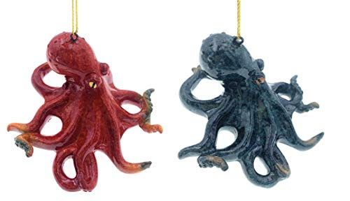 Globe Imports Blue and Red Octopus Christmas Ornaments Bundle Set of 2