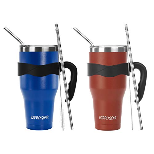 Ezprogear 40 oz 2 Pack Beer Mug Stainless Steel Blue and Cherry Water Cup Double Wall with Straws and Handle 40 oz 2 Pack BlueCherry