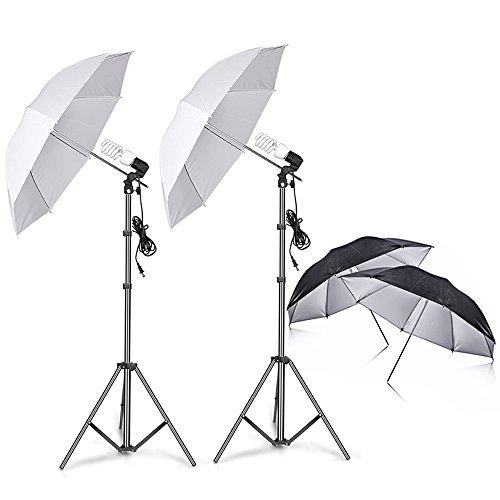 Photography Photo Video Studio Background Stand Support Kit with Muslin Backdrop Kits (White Black),1050W 5500K Daylight Umbrella Lighting Kit(10x6.5ft/3x2M)