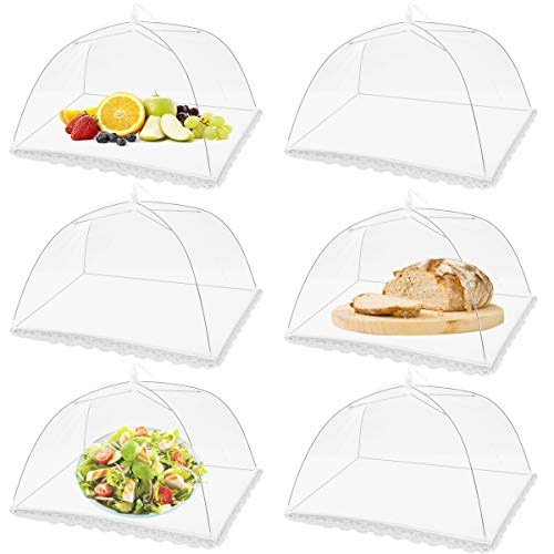 FOOEN (6 Pack) Pop-Up Picnic Mesh Food Covers Tent Umbrella for Outdoors and Camping Food Net Cover Keep out Flies Mosquitoes Ideal for Parties Picnics BBQ, Reusable and Collapsible 17 x 17inches