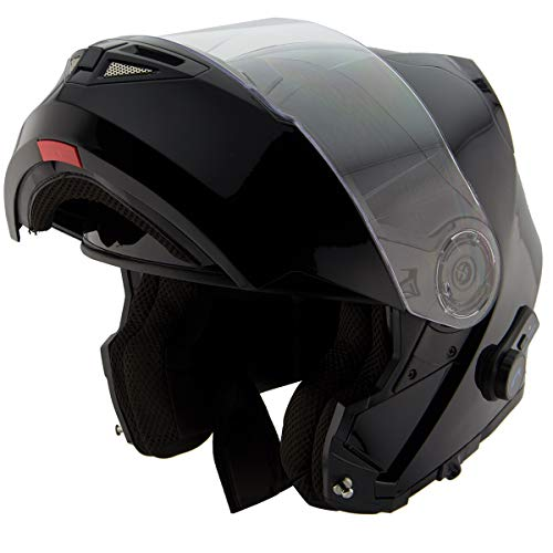 Hawk H7000 Glossy Black Modular Motorcycle Helmet with Blinc Bluetooth - Large