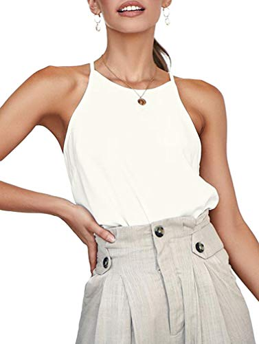 ZJCT Womens Tank Tops Halter Neck Basic Loose Fit Shirts Casual Tops Sleeveless Cute Summer Beach Racerback Tee Shirts White XL