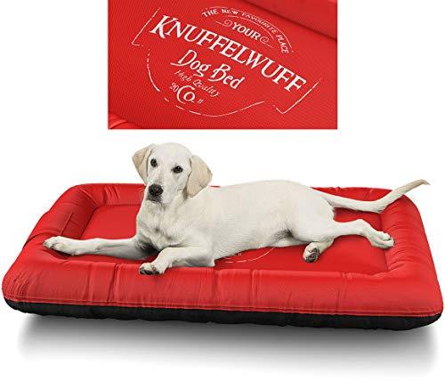 Knuffelwuff 13969-010 Wasserfestes Hundebett Avery mit Vintage Aufdruck, XXL, 120 x 85 cm, rot,