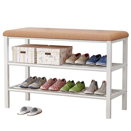 XWZH Gabinete de Zapatos a Prueba de Polvo Estante de Zapatos con banqueta Superior 80x30x50cm Estantes de Metal para ordenar de 6 a 8 Pares de Asiento tapizado de Shuario para Sentarse 2 Personas