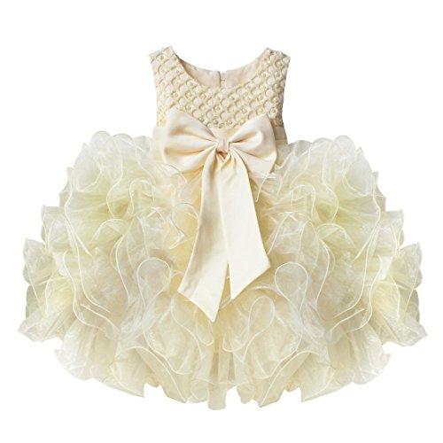 Tiaobug Baby Mädchen Prinzessin Kleid Blumenmädchen Party Kleid Festlich Tütü Hochzeit Perle...