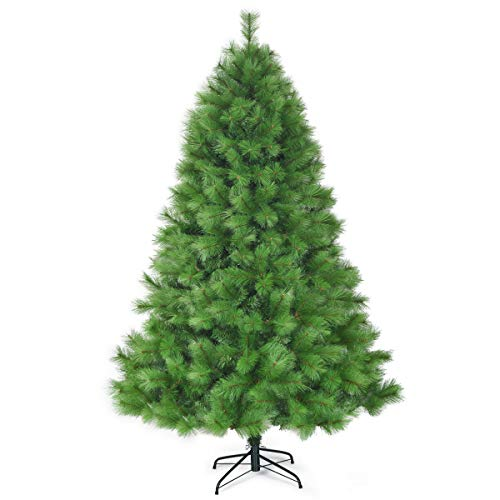 Goplus 7ft Unlit Artificial Christmas Tree, Hinged Pine Tree with Metal Stand, Perfect Xmas Decoration for Indoor and Outdoor
