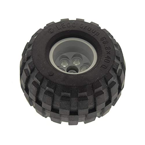 LEGO 1 x Technic Rad schwarz 68.8 x 40 Q Racing Technik Felge alt-hell grau Ballon Reifen Räder Set 8465 (2996 / 2995) 2996c01