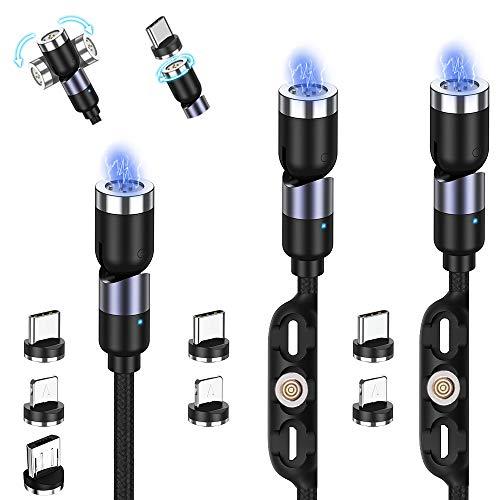 TOPK Cable USB Magnetico 3 Pack, Gen3 Actualización 3A Carga Rápida y Sincronización de Datos, 360 ° y 180 ° Rotación Cable USB Magnético Teléfono móvil Cable de Cargador 3 en 1 para Micro, TC, IP