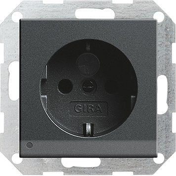 Gira 117028 Schuko-Steckdose anthrazit LED-Beleuchtung System55 m.Kinderschutz