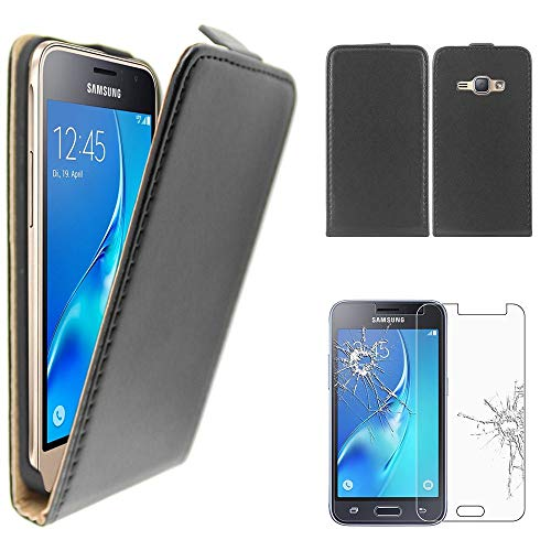 ebestStar - Cover Compatibile con Samsung J1 Galaxy J1 2016 4G SM-J120F Custodia Protezione Pelle PU Risvolto Verticale, Nero + Pellicola Vetro Temperato [Apparecchio: 132.6 x 69.3 x 8.9mm, 4.5'']