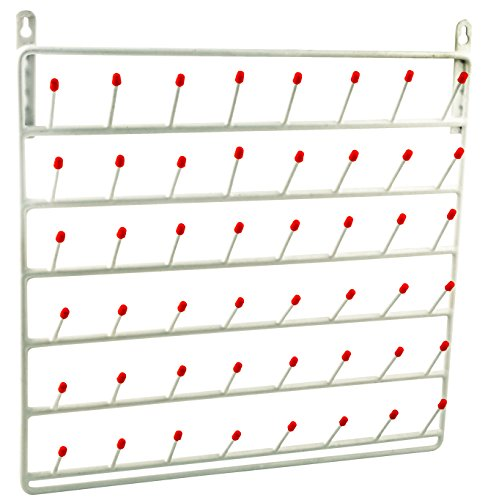 Draining Rack, 48 Pegs (2.75 Inch Pegs) - Wall Mountable, Vinyl Coated Steel - for Labware - Eisco Labs