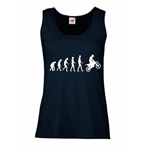 lepni.me Camisetas sin Mangas para Mujer Evolución del Motocross Equipo de Moto Ropa de Carreras Todoterreno (Large Azul Blanco)