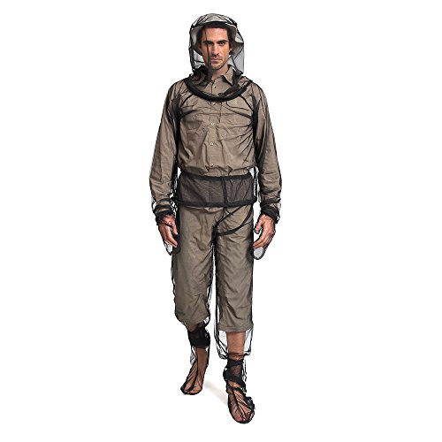 Mosquito Body Suit, Bug Jacket Mesh Hooded Net Unisex Ultra-fine Mesh Insect Protective Clothing for Fishing Hiking Camping Gardening - L