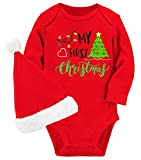 Baby My First Christmas Boy Girl Bodysuit Long Sleeve Red Romper and Xmas Tree Print Outfits Kid's Hat Suit 3-6 Months