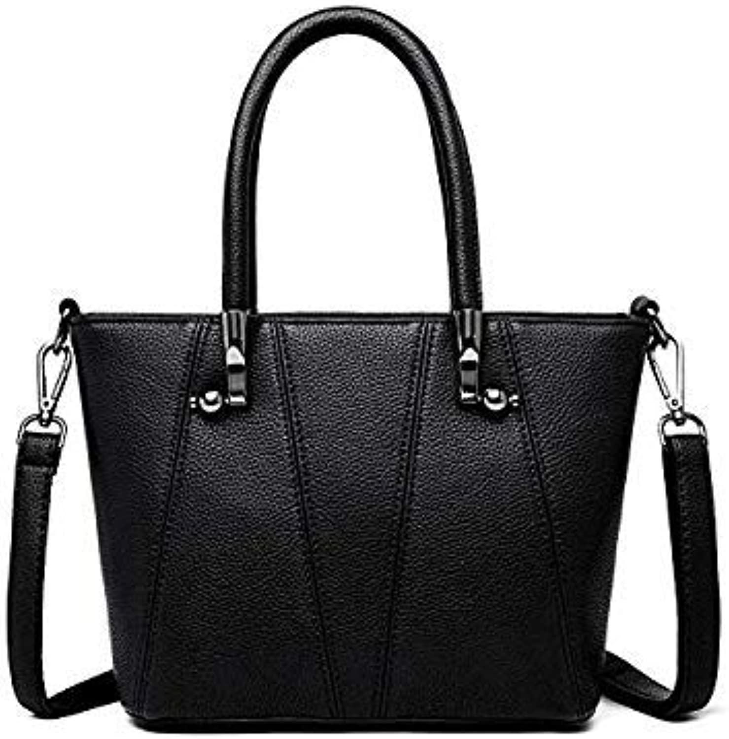 Bloomerang YASICAIDI High Quality PU Leather Women Handbags Patchwork Women Shoulder Bags Large Capacity Casual Tote Bags Soft Leather Bags color Black 33cm