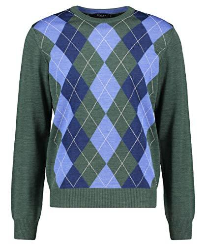 märz münchen Maerz Herren Pullover Merinowolle Sweater Raute und Karo Grün 52
