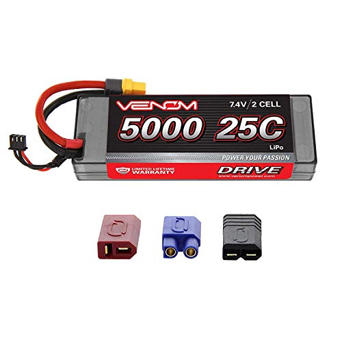 Venom Heavy-Duty 2S LiPo Battery | 25C 2S 5000mAh 7.4V LiPo Battery | High-Performance Hard Case 2S LiPo RC Battery with Universal Plug and Adapter for Traxxas, Deans, EC3