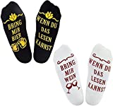 Chalier 2 Paar Socken Herren, Lustige Baumwollsocken, Wenn Du das Lesen Kannst Bring mir Bier,Wein,Tee,Socken für Vater, Fre&, Ehemann, Klassenkamerad, Junge