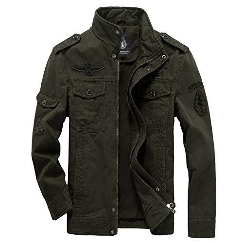 GYXYYF Baumwolle Militärjacke Herren Herbst Soldat Style Army Jacken Herren Faultier Herren Bomberjacken Plus Size M-6Xl L ArmyGreen