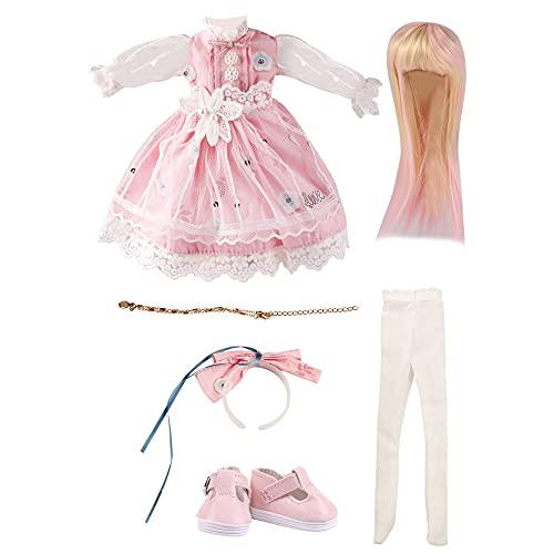 UCanaan BJD Dolls Clothes Set of 1/6 BJD Dolls Wigs Shoes Socks Accessories Full Set for 12 inch 30cm BJD Dolls
