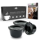 Green BEANS Cápsula de café de plástico reutilizable con colador de acero inoxidable para cafeteras DOLCE GUSTO Juego de 3 + Guía del barista GRATIS [E-Book]