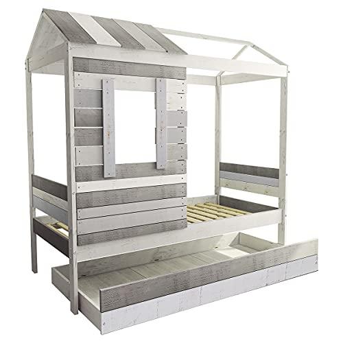 Lit cabane avec tiroir lit Charles Gris