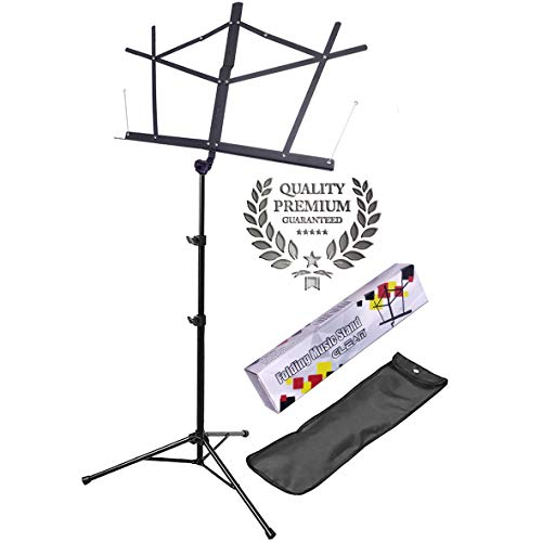 GLEAM Music Stand - Upgrade 1.2 inch Wide Shelf Bold Pipe Folding with Carrying Bag (GMS-001S)